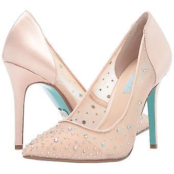 Betsey Johnson Blue Women's SB-Rubie Heeled Sandal, Champagne Satin, 8 M US