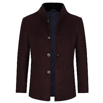 Allthemen Men's Stand Collar Warm Slim Business Wool Blend Cappottina
