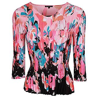 Leo & Ugo Non-iron Pink Floral Long Sleeve Top