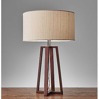 """15"""" X 15"""" X 23.75"""" Walnut Wood Fabric Table Lamp"""
