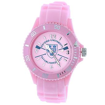 Licensed Oxford University EST 1231 Quartz Movement Rotating Bezel Pink Dial & Pink Silicone Strap Watch OU03C