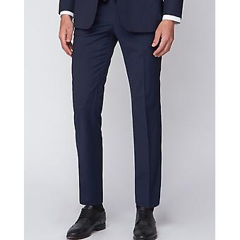 Navy Shadow Check Suit Trousers