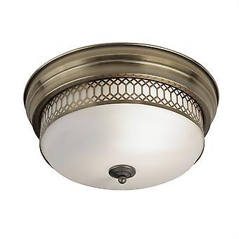 Searchlight Edimburgo 2 luz baño flush techo antiguo latón, blanco IP44 4132-2AB