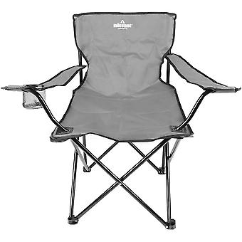 Milestone Lightweight Foldable Steel Camping Chair With Cup Holder Grey