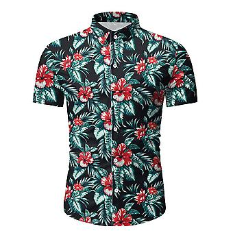 Allthemen Men's Summer Floral Printed Casual Short-Sleeved Slim Lapel Shirt Top