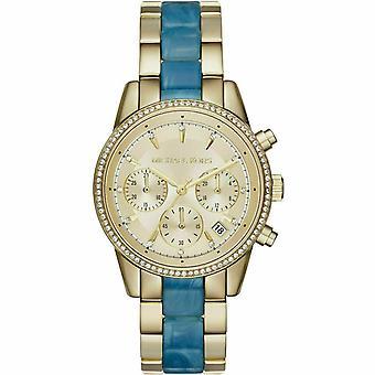 Michael Kors MK6328 Ritz Goldtone And Blue Acetate Ladies Watch