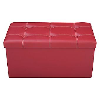 Faux Leather Ottoman Pouffe Storage Toy Box Foot Stools 2 Seater Bench Seat