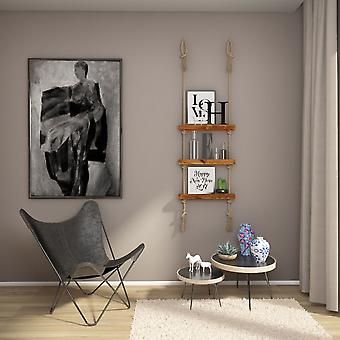 Halatli Regal Farbe Eiche, Ecru Holz, Juta, L50xP9xA125 cm