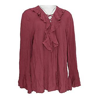 Masseys Women's Plus Top Ruffle Lace-Up Blouse Rose Purple
