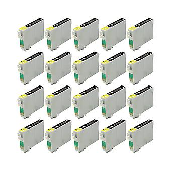 RudyTwos 20x Replacement for Epson Fox Ink Unit Black Compatible with S22, SX125, SX130, SX230, SX235W, SX420W, SX425W, SX430W, SX435W, SX438W, SX440W, SX445W, SX445WE, Office BX305F, BX305FW, BX305FW