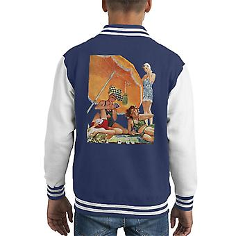 The Saturday Evening Post Card Game At The Beach Alex Ross Kid's Varsity Jacket