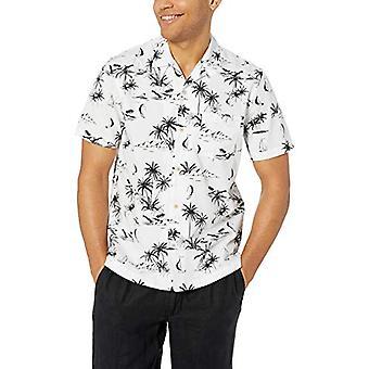28 Palms Men's Standard-Fit 100% Cotton Tropical Hawaiian Shirt, White/Black Scenic, X-Small