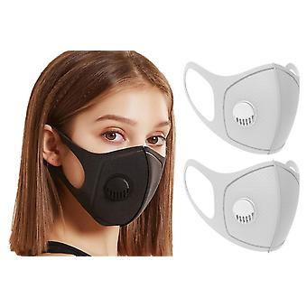 2x Face Mask with breathing valve, Grey, Washable Mouth Guard