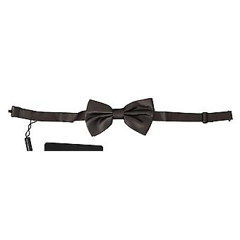 Dolce & Gabbana Gray 100% Silk Adjustable Neck Butterfly Men Bow Tie -- FT20794416