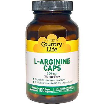 Country Life, L-Arginine Caps, 500 mg, 100 capsules végétaliennes