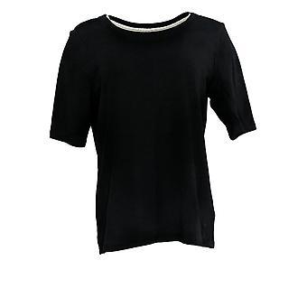 Isaac Mizrahi Live! Women's Top Pima Cotton Elbow Sleeve Black A376658
