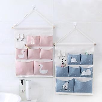 Snailhouse Pink Printing 6 Pockets Wall Hanging Storage Bag - Waterproof Sundries Pouch Bedroom Sundries Bag Simple Home Organizer