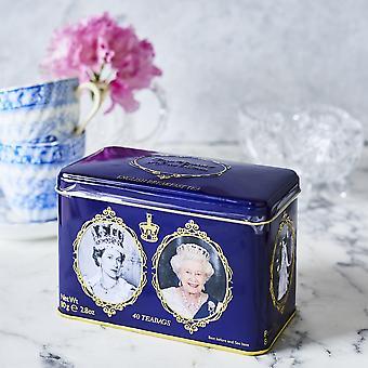Reine elizabeth ii étain avec 40 sachets de thé anglais de petit déjeuner