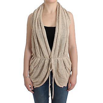 Beige Sleeveless Knitted Cardigan SIG12085-2