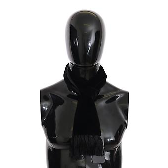 Dolce & Gabbana Black Velvet Fringes Șal Wrap S. 15X140Cm Eșarfă MS5020
