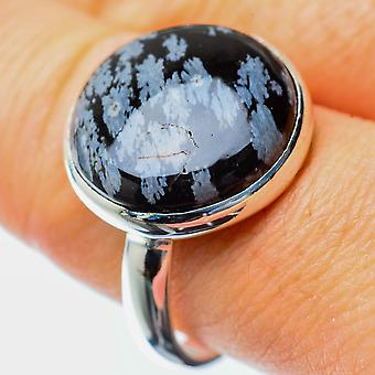 Snowflake Obsidian Ring Size 9.75 (925 Sterling Silver)  - Handmade Boho Vintage Jewelry RING25506