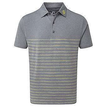 Footjoy Mens Lisle Engineered Pinstripe Wicking Golf Polo Shirt
