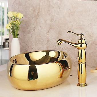 Solid Brass Golden Luxury Ceramic - Lavatory Bathroom Washbasin Faucets Sets