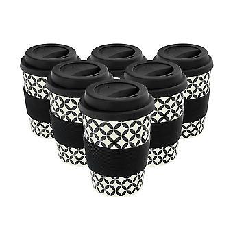 Herbruikbare koffiebekers - Bamboevezel reismokken met siliconen deksel, sleeve - 350ml (12oz) - Cirkels - Zwart - x6