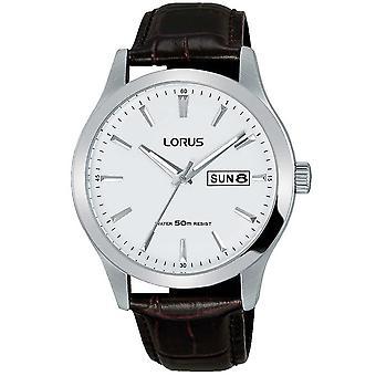 Lorus Mens stijlvol jurk horloge met bruine lederen band (Model No. RXN29DX9)