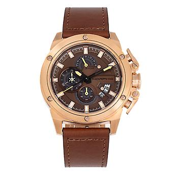 Morphic M81 Série Chronograph Leather-Band Watch w/Date - Brown/Rose Gold