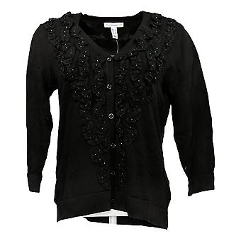 Isaac Mizrahi Live! Women's Sweater 3/4 Sleeve Cardigan Black A301930