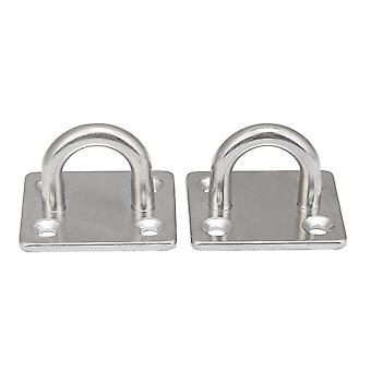 2pcs Stainless Steel Ceiling Wall Mount Hooks M6 Pad Eye Plate 40x35mm