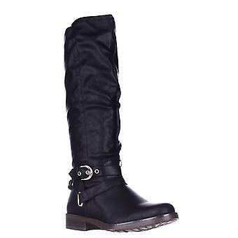 XOXO Mujeres -Pantorrilla ancha cerrada dedo del pie rodilla botas de montar