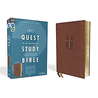 NIV, Quest Study Bible, Leathersoft, Brown, Comfort Print: The Only Q and A Study Bible