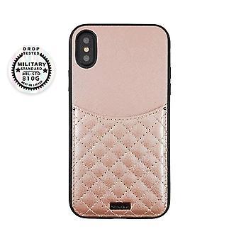 الوردي iPhone Xs / X حالة مع حامل البطاقة