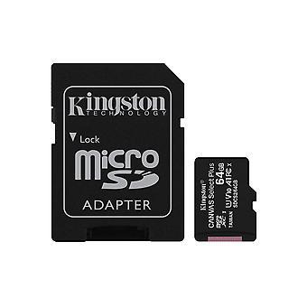 Kingston canvas select mais cartão microsd sdcs2/64 gb classe 10 (adaptador sd incluído) 64 gb sd adaptador