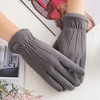 New Winter Female Lace Warm Cashmere Three Ribs Cute Bear Mittens Double Thick