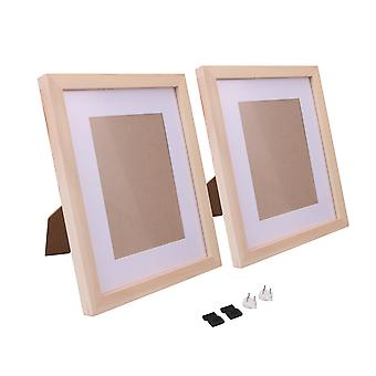 2 x Picture Photo Frames 8Inchx10Inch with Mat for Tabletop Display Wood Color