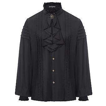 Men Shirt Gentleman Tops, Long Sleeve, Vintage Stand-up Collar