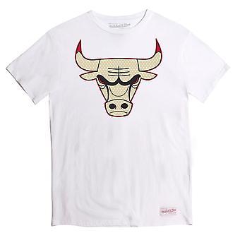 Mitchell & Ness Mens Gold Logo Tee Chicago Bulls T-Shirt White BA2B0C CBUKLKL