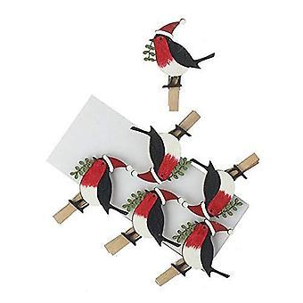 Christmas Pegs Wooden Robin Christmas Card