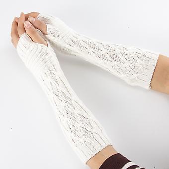 المرأة شبه طويلة الخريف الشتاء محبوك القفازات، نصف إصبع، اليد أكثر دفئا، لينة