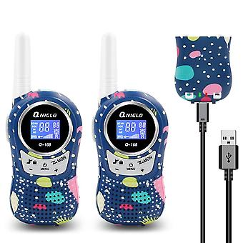 Qniglo rechargeable kids walkie talkies, 8 channels, 2 mile long range, voice activated pmr walkie t