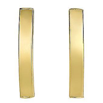 14 k желтое золото изогнутой трубки прямоугольные альпинист бар стиль серьги Стад