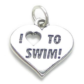 I Love To Swim Sterling Silver Charm .925 X 1 Swimmer Swimming Charms - 3793