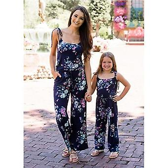 Mommy And Me Clothes Summer Deep V Straps Jumpsuit Parent-child Family Matching