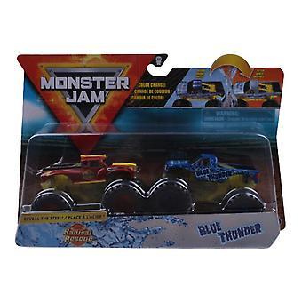 Monstertrucks Monster Jam 1:64 Blauw / Rood 2 Stuks