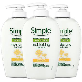 3x 250ml Simple Sensitive Skin Expert Feuchtigkeitsspendendes Handwaschen mit Kamillenöl
