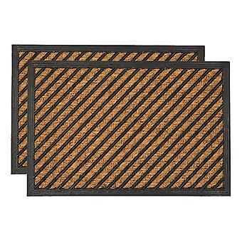 2x esteras de puerta de servicio pesado goma espalda al aire libre alfombras de bienvenida 60 x 40cm Diagonal