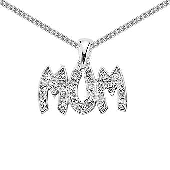 Jewelco London Ladies Rhodium belagt sterling sølv cubic zirconia pave mamma anheng halskjede 18 tommer